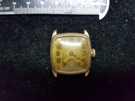 VINTAGE ELGIN 14KT GOLD FILLED CUSHION CASE WATCH FOR YOU TO FIX STEM SP... - $87.32