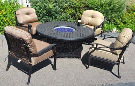 Fire Pit Table Set Elisabeth Propane 5pc Patio Furniture Outdoor Dining Aluminum image 1