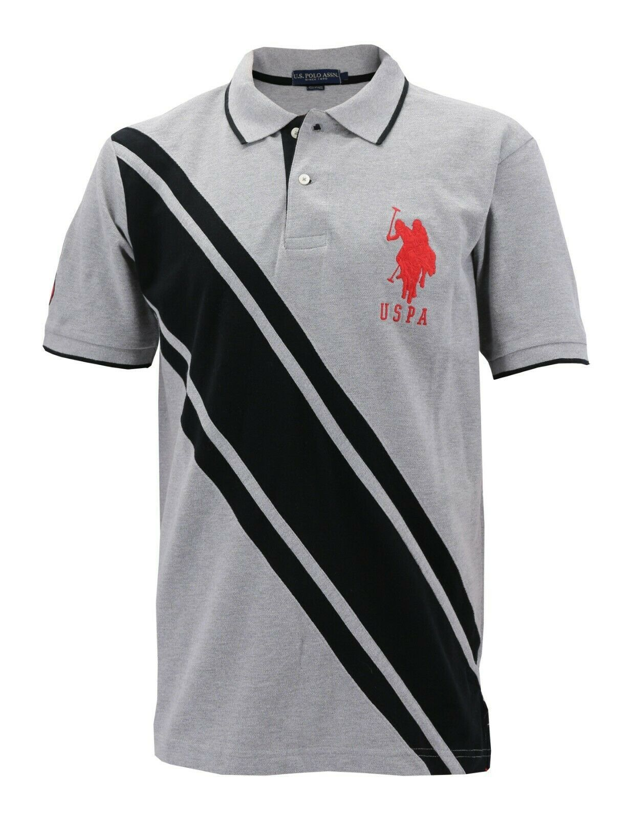 NEW US POLO ASSN MEN'S PREMIUM ATHLETIC CLASSIC COTTON GOLF SHIRT T-SHIRT GRAY