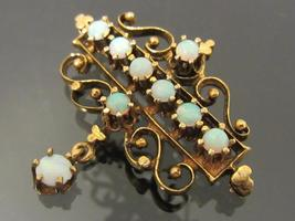 Antique 1800's Victorian 14k Solid Yellow Gold Opal Dangle Filigree Pin/Brooch!! - $465.00