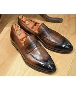 Men's Handmade Two Tone Brown & Black Shoes, Men's Tussles Leather Loafers - $144.99+