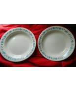 CORELLE BLUEBERRY BOUQUET FLAT RIMMED SOUP BOWL LOT OF 2 RARE  FREE USA SHIPPING - $46.74