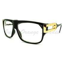Square Rectangular Clear Lens Glasses Flat Top Metal Plated Frame - $7.95
