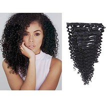 Anrosa Curly Clip in Human Hair Extensions 1B Natural Black Afro Kinky Curly Cli