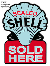 Reproduction Blue Shell Sold Here Laser Cut Out Metal Sign 17x23 - $49.50
