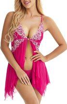 Lingerie for Women Front Closure Babydoll Lace Chemise V Neck Mesh Sleepwear 1 image 3