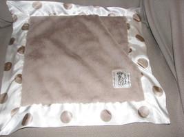 Little Giraffe Baby Security Blanket Lovey Luxe Tan Brown Flax Polka Dot White - $31.67