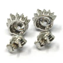 SOLID 18K WHITE GOLD STUD EARRINGS, SUN, CROWN, EYE, CUBIC ZIRCONIA, 0.3 INCHES image 4