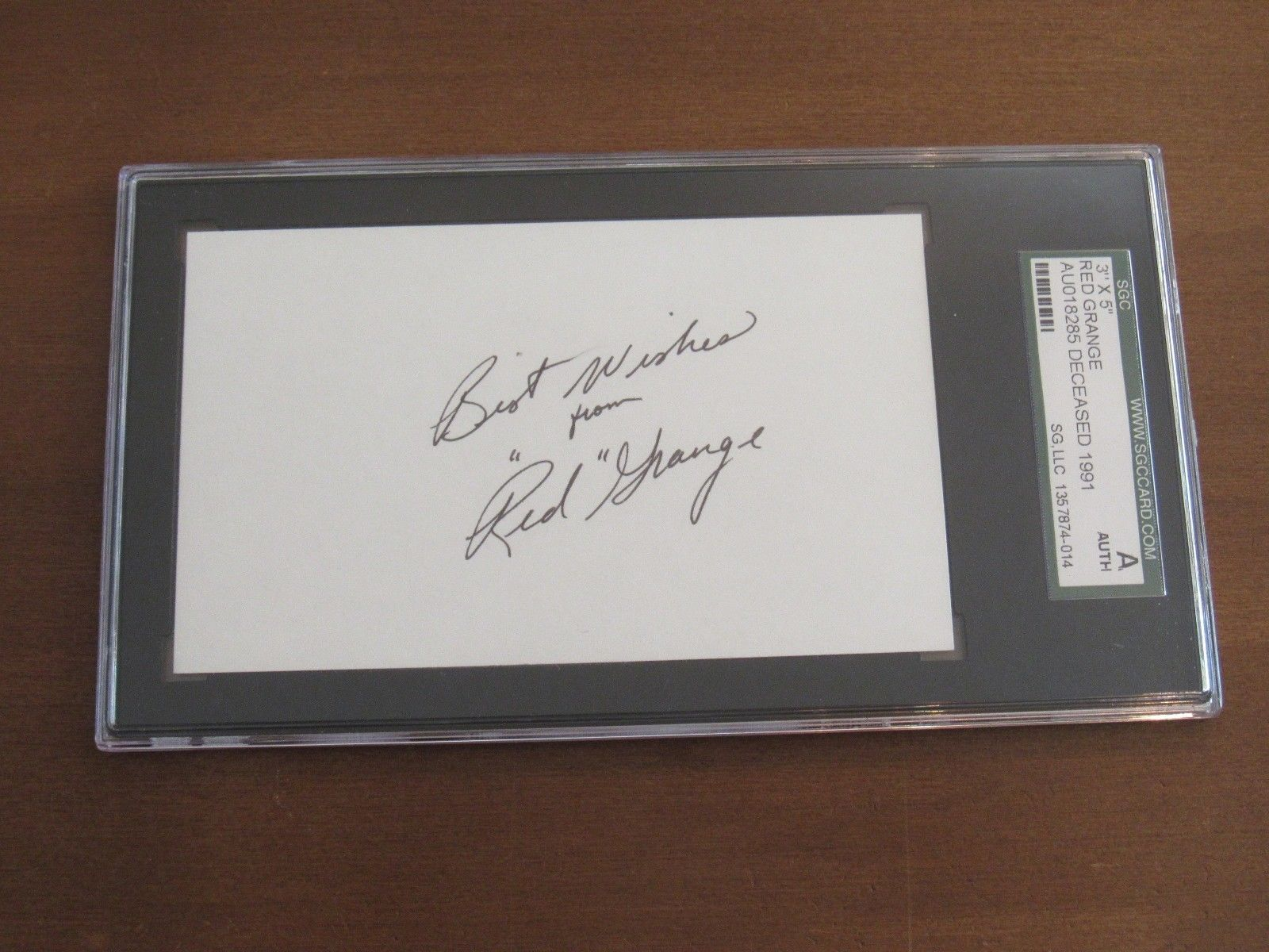 Primary image for RED GRANGE BEARS YANKEES FOOTBALL HALFBACK HOF SIGNED AUTO VINTAGE INDEX SGC D91