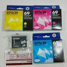 Epson 69 T069 Cyan Yellow Magenta Black Cartridges Lot of 4 Genuine OEM ... - $39.99