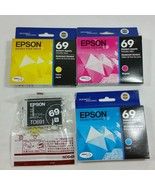 Epson 69 T069 Cyan Yellow Magenta Black Cartridges Lot of 4 Genuine OEM ... - $39.99