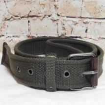Calvin Klein Men's One-Pin Olive Green Canvas Belt