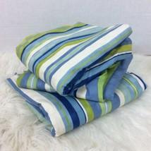 "Lot Three Striped Window Curtains Drapery 46"" x 84"" Striped Green Blue Lined - $84.14"