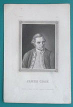 JAMES COOK Explorer Navigator Geographer - 1840s Portrait Print - $27.00