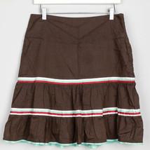 American Eagle Womens Skirt Ruffle A Line Stripe Brown Mint White Red 4 ... - $12.86
