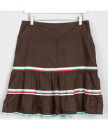 American Eagle Womens Skirt Ruffle A Line Stripe Brown Mint White Red 4 ... - $12.86