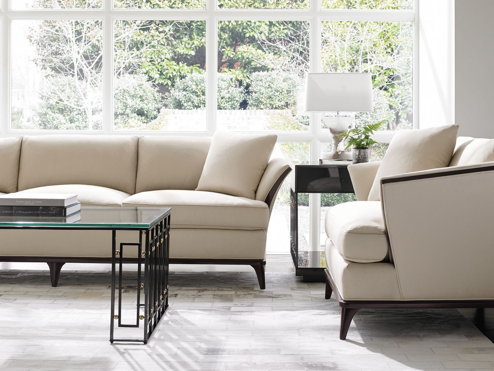lisbon living room furniture brown wood trim beige fabric