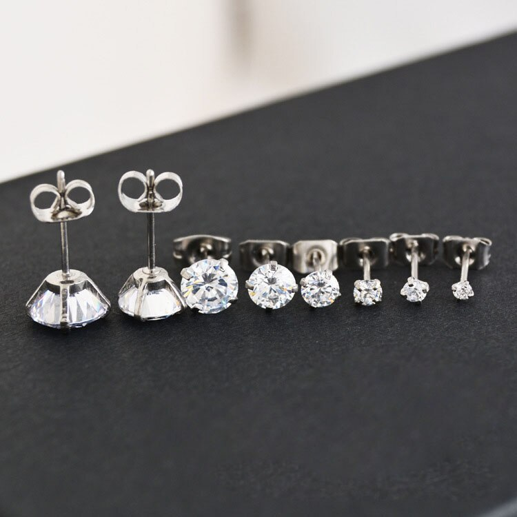 Primary image for 60 pcs Crystal CZ Clear Gem Ear Stud Tragus Four claw  pin zircon earrings Ear S