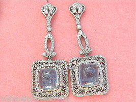 EDWARDIAN DECO 10ctw CABOCHON AQUAMARINE 2ctw DIAMOND PLATINUM COCKTAIL ... - $5,905.35