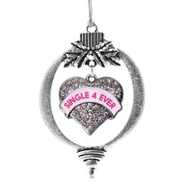 Inspired Silver Single 4 Ever Candy Pink Pave Heart Holiday Ornament - $14.69