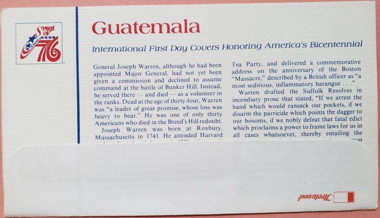 FDC Commemorating the United States Bicentennial Spirit of 76: Guatemala
