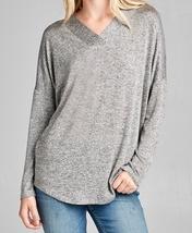 Hacci Tunic Sweater, Soft Hacci Sweater, Relaxed Tunic Sweater, Gray