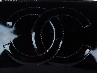 Authentic CHANEL Patent Leather Black Pouch Bag CP1079