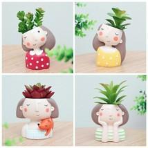 Creative Resin Meat Pot Cute Cartoon Wreath Girl Flower Pot four colors6613 - $19.36 CAD