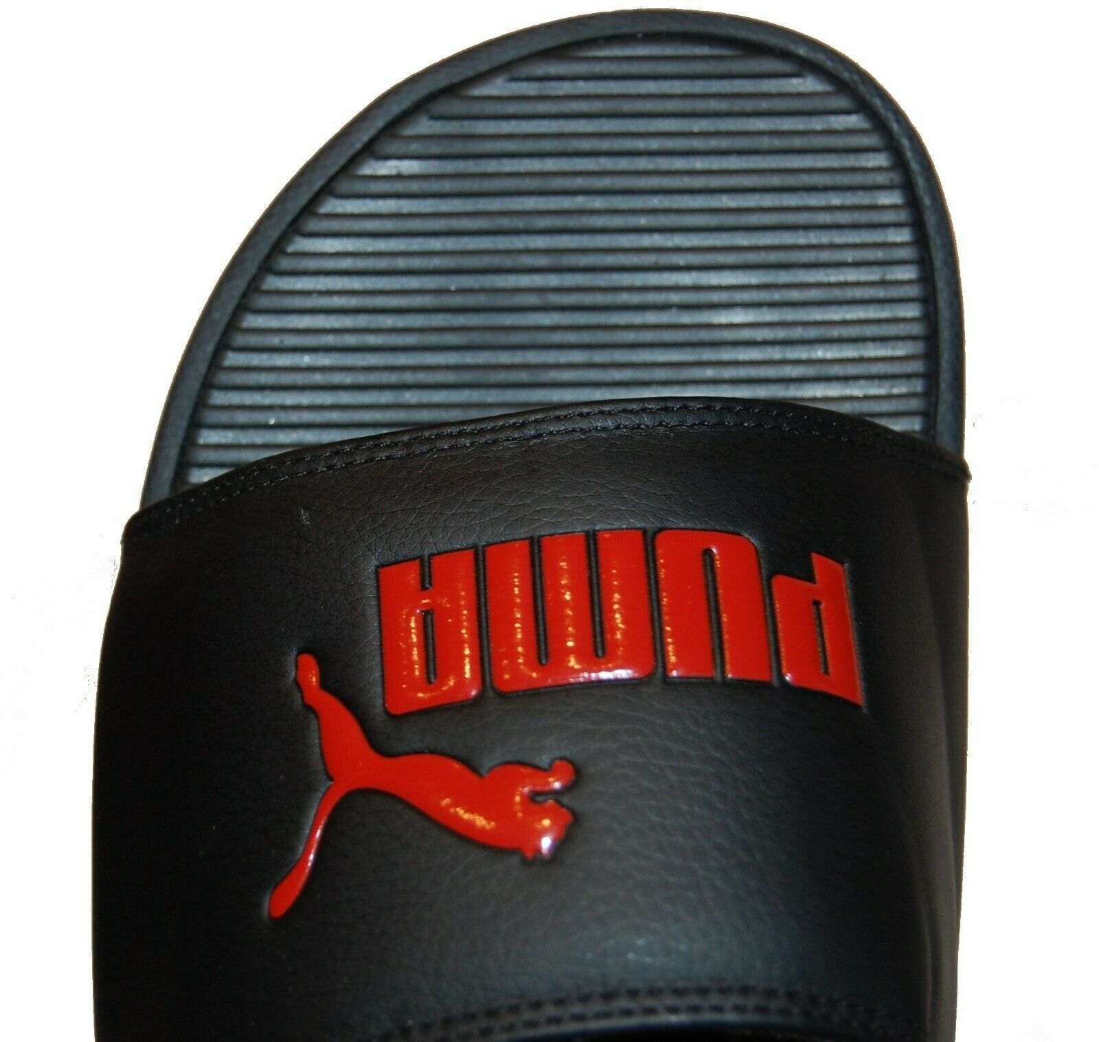 Puma  Men's Black Red logo Print Flip Flop Sandal Shoes Size EU 45 US 12