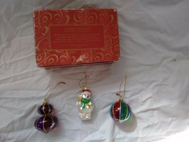 Blown Glass Ornaments Set of 3 Santa Bear & Ball 2001 Avon Christmas Hol... - $16.82