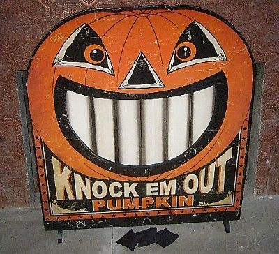 Bethany Lowe Knock Em Out Pumpkin Bean Bag Game or fire screen