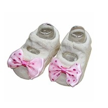 2 Pairs Bowknot and Dots Design Baby Girls Socks Cute Socks, Beige[D]