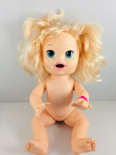 Baby Alive 2014 Bilingual Blonde Blue Eyes Interactive Non Working Pees Poops