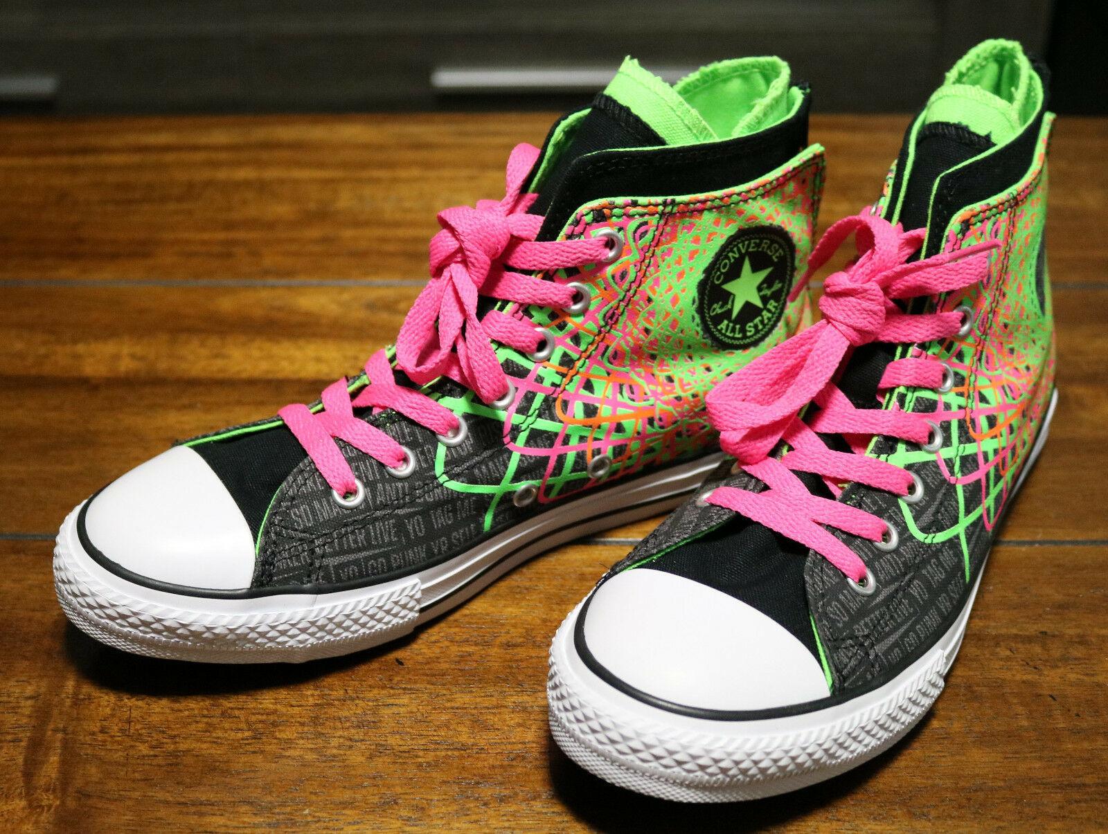 Converse Chuck Taylor All Star Zipback 649963C Black Pink Green Shoes Girls Sz 5 image 2