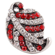 Red White Leaf Rhinestone 20mm Snap Charm For Ginger Snaps Jewelry - $6.19