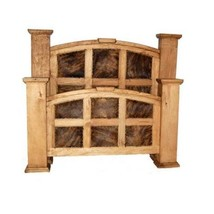 Rustic Cowhide Mansion Bed King Queen Western Real Solid Wood Cabin Lodge - $1,113.75+