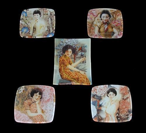 5 Designs Asian Ladies High Fashion Dresses Glass Snack Plates Unique & Rare EXC