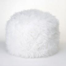FUZZY WHITE OTTOMAN POUF - $48.18