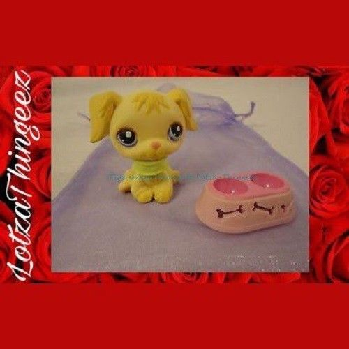 LPS Littlest Pet Shop Tan Golden Retriever Purple Eyes 286 Collar Bowl GIFT Bag