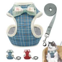 Soft Cat Dog Harness and Leash Set Grid Breathable Pet Mesh Harnesses Pu... - $25.50