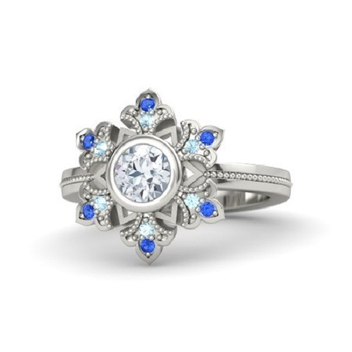 Primary image for 14K White Gold 925 Silver Round Cut Multi Stone Disney Princess Snowflake Ring