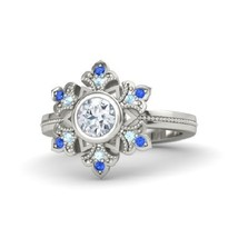 Round diamond 14k white gold ring with aquamarine and blue sapphire thumb200