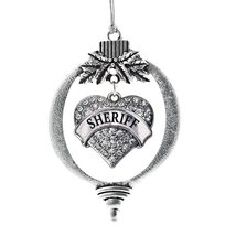 Inspired Silver Sheriff Pave Heart Holiday Christmas Tree Ornament With Crystal  - $14.69