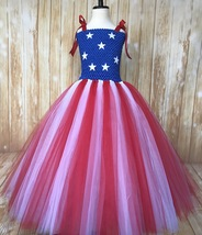 American Flag Tutu Dress, July 4th Pageant Dress, Floor Length or Knee L... - $40.00+