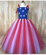 American Flag Tutu Dress, July 4th Pageant Dress, Floor Length or Knee L... - $40.00+