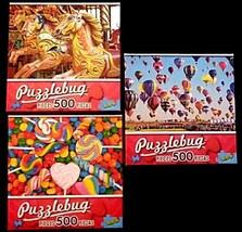 Three (3) Puzzlebug 500 Piece Jigsaw Puzzles Carousel Hot Air Balloons C... - $14.84