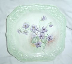 Vintage Green Eggshell Theme Square Salad Plate by Homer Laughlin Purple Flowers - $14.99