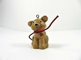 Hallmark Sitting Teddy Bear Ornament With Red Heart Vintage 1981 - $10.88
