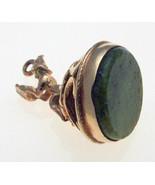 Vintage 9ct Gold Jade Nephrite Pixie Fob Pendant - $123.74