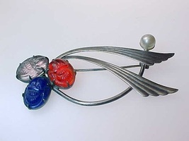 Vintage STERLING BROOCH Pin with GLASS Cast Scarabs and Faux PEARL - FRE... - $150.00
